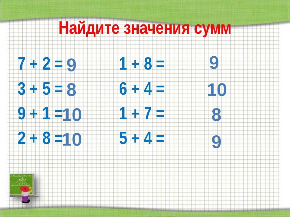 Найдите значения сумм 7 + 2 =1 + 8 = 3 + 5 =6 + 4 = 9 + 1 =1 + 7...