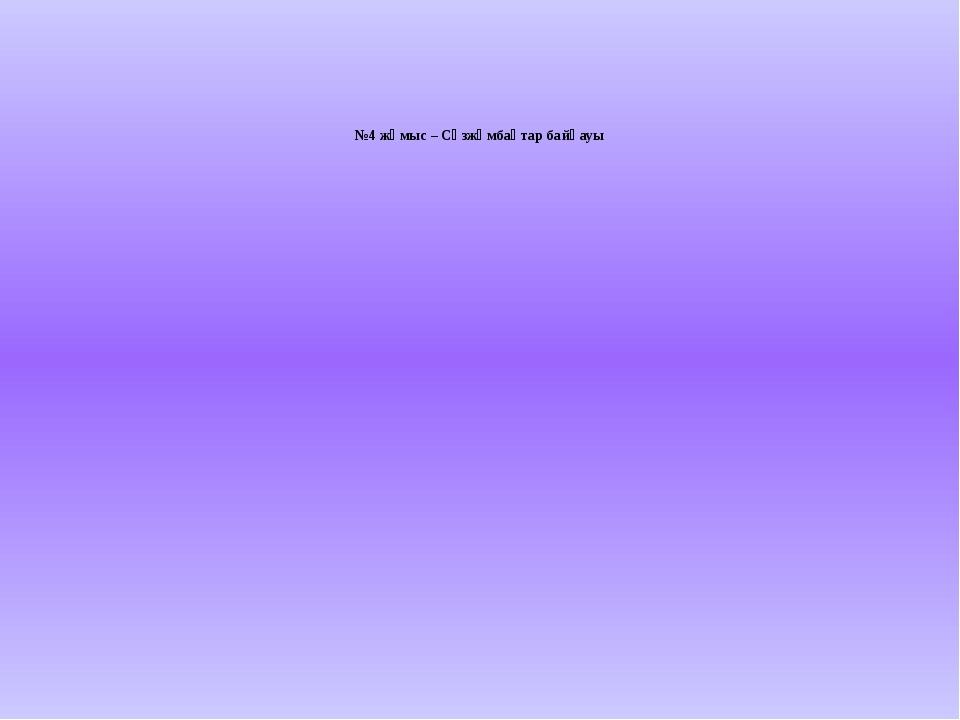 №4 жұмыс – Сөзжұмбақтар байқауы