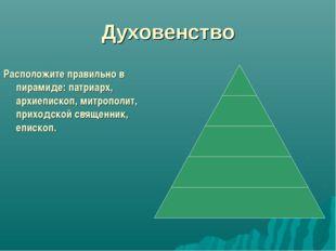 Духовенство Расположите правильно в пирамиде: патриарх, архиепископ, митропол