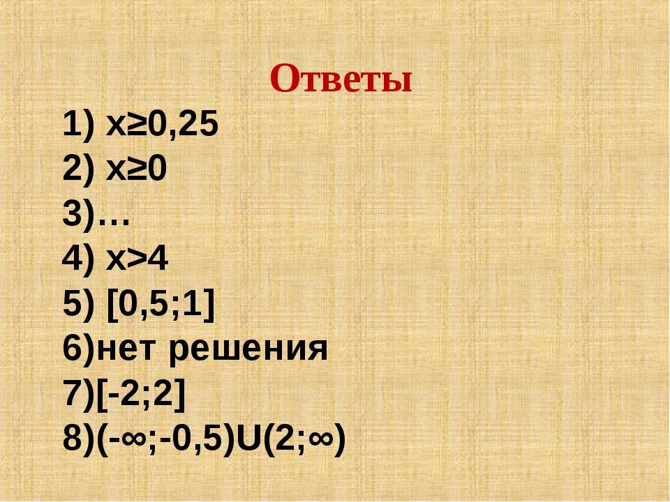 х≥0,25 х≥0 … х>4 [0,5;1] нет решения [-2;2] (-∞;-0,5)U(2;∞) Ответы