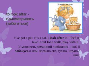 to look after - присматривать (заботиться) I've got a pet. It's a cat. I look