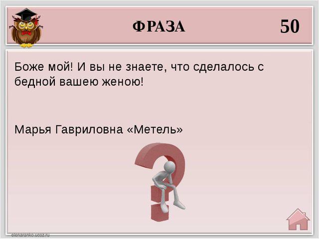 ФРАЗА 50 Марья Гавриловна «Метель» Боже мой! И вы не знаете, что сделалось с...