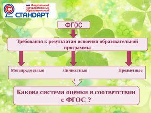 ФГОС Предметные Метапредметные Личностные Требования к результатам освоения