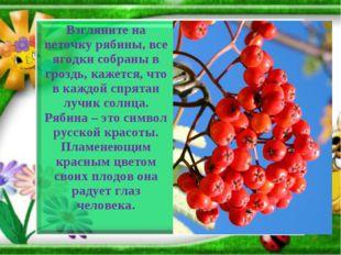 Взгляните на веточку рябины, все ягодки собраны в гроздь, кажется, что в кажд