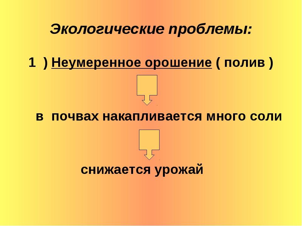 Экологические проблемы: 1 ) Неумеренное орошение ( полив ) в почвах накаплива...
