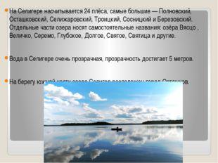 На Селигере насчитывается 24 плёса, самые большие — Полновский, Осташковский