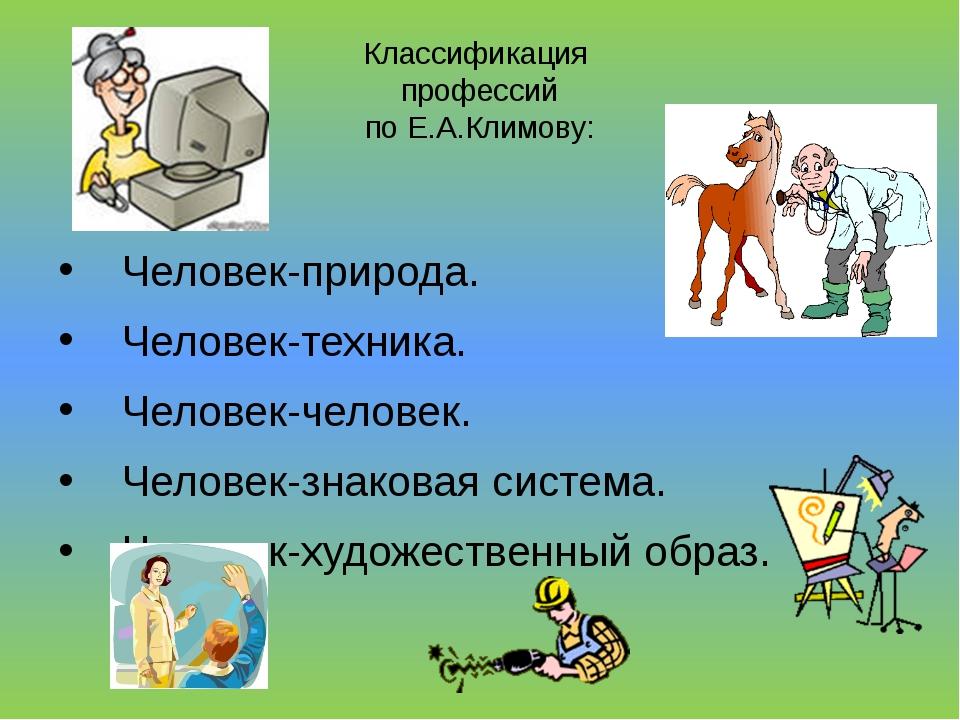 Классификация профессий по Е.А.Климову: Человек-природа. Человек-техника. Чел...