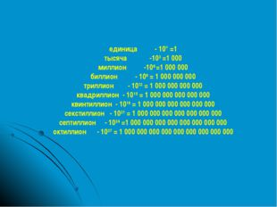 единица - 10° =1 тысяча -103 =1 000 миллион -106 =1 000 000 биллион - 109 = 1