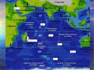 Африка Евразия Австралия Большие Зондские о-ва Аравийский п-ов п-ов Индостан