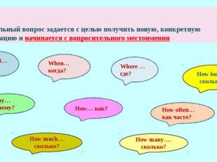 Специальный вопрос задается с целью получить новую, конкретную информацию и н