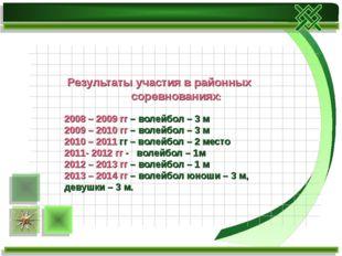 Результаты участия в районных соревнованиях: 2008 – 2009 гг – волейбол – 3 м