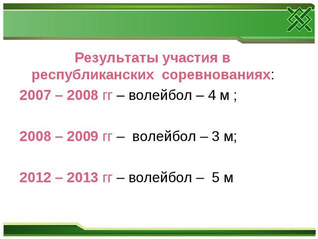 Результаты участия в республиканских соревнованиях: 2007 – 2008 гг – волейбо...