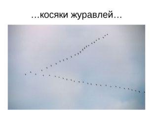 …косяки журавлей…