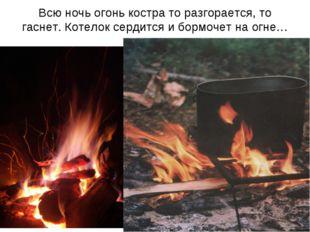 Всю ночь огонь костра то разгорается, то гаснет. Котелок сердится и бормочет