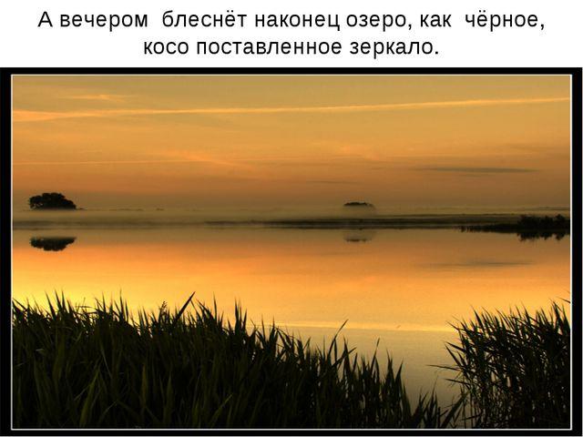 А вечером блеснёт наконец озеро, как чёрное, косо поставленное зеркало.