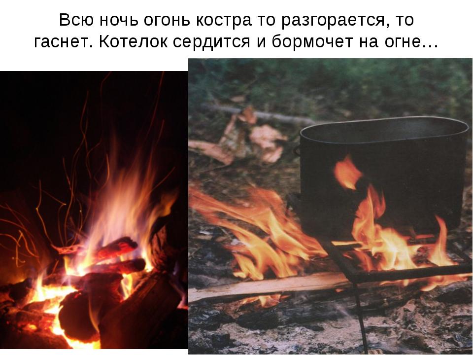 Всю ночь огонь костра то разгорается, то гаснет. Котелок сердится и бормочет...