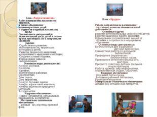 Блок «Радуга талантов» Работа направлена на развитие общения, а также объеди