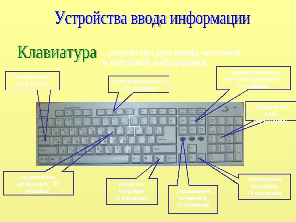 - устройство для ввода числовой и текстовой информации. Функциональные (12 кл...