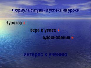 Формула ситуации успеха на уроке Чувства + вера в успех + вдохновение = интер