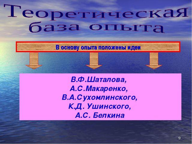 В основу опыта положены идеи * В.Ф.Шаталова, А.С.Макаренко, В.А.Сухомлинского...