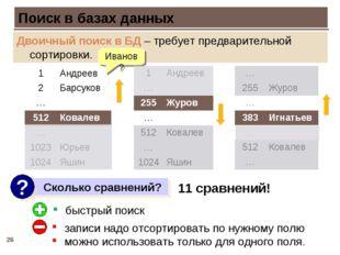 * Поиск в базах данных Двоичный поиск в БД – требует предварительной сортиров
