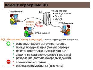 * Клиент-серверные ИС СУБД-клиент СУБД-клиент СУБД-клиент основную работу вып