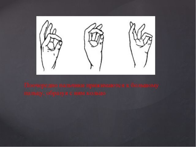 6 упражнение: Поочередно пальчики прижимаются к большому пальцу, образуя с ни...