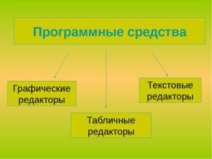 Программные средства Графические редакторы Табличные редакторы Текстовые реда