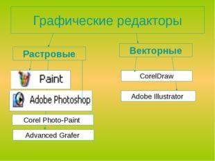 Графические редакторы Растровые Векторные CorelDraw Advanced Grafer Аdobe Il