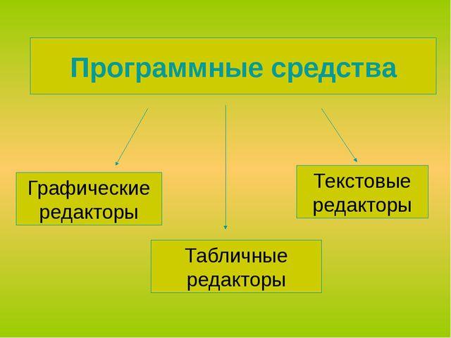 Программные средства Графические редакторы Табличные редакторы Текстовые реда...