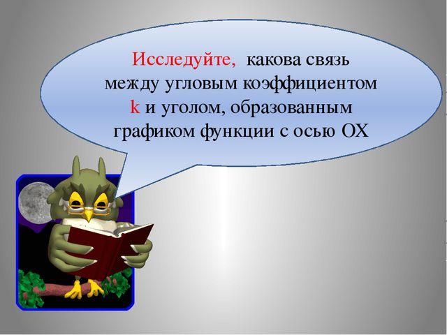 Исследуйте, какова связь между угловым коэффициентом k и уголом, образованным...