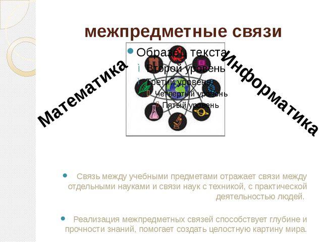 межпредметные связи Связь между учебными предметами отражает связи между отде...