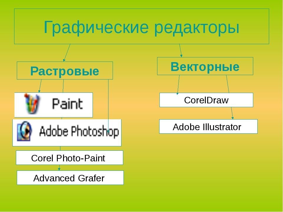 Графические редакторы Растровые Векторные CorelDraw Advanced Grafer Аdobe Il...