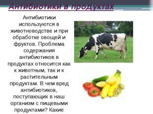 Антибиотики в продуктах Антибиотики используются в животноводстве и при обраб
