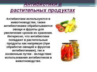Антибиотики в растительных продуктах Антибиотики используются в животноводств