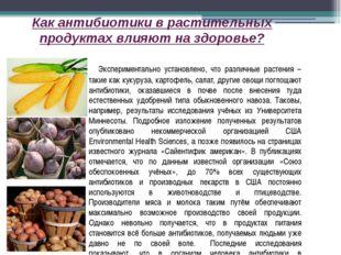 Как антибиотики в растительных продуктах влияют на здоровье? Экспериментально