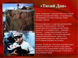 «Тихий Дон» Роман «Тихий Дон» о донском казачестве в Первой мировой и Граждан