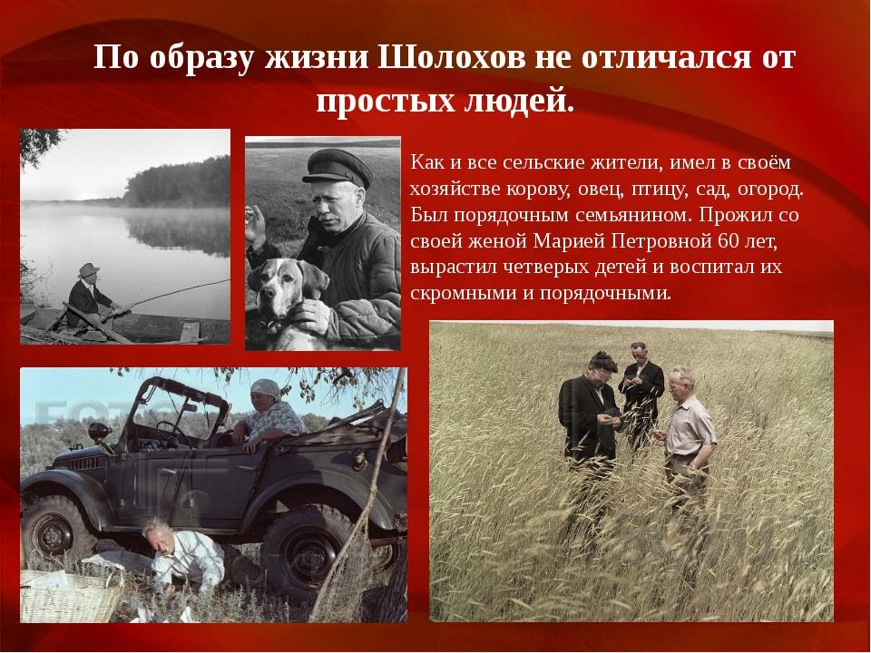 По образу жизни Шолохов не отличался от простых людей. Как и все сельские жит...