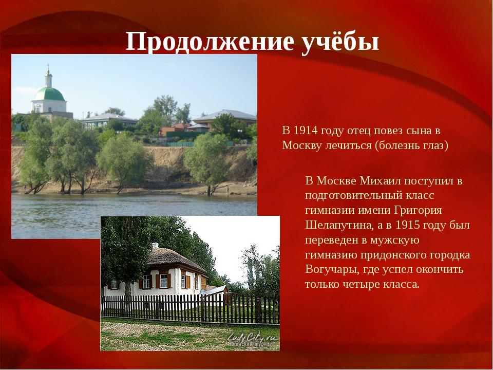 Продолжение учёбы В 1914 году отец повез сына в Москву лечиться (болезнь глаз...