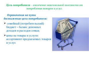 Цель потребителя – извлечение максимальной полезности от потребления товаров