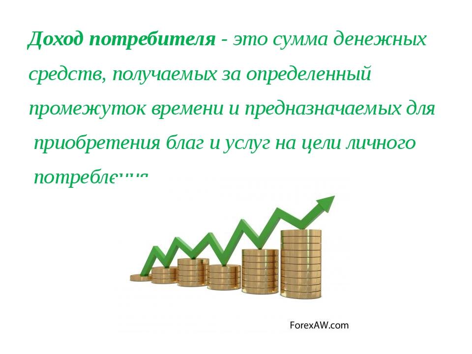 Доход потребителя - это сумма денежных средств, получаемых за определенный пр...