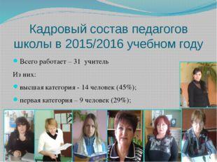 Кадровый состав педагогов школы в 2015/2016 учебном году Всего работает – 31