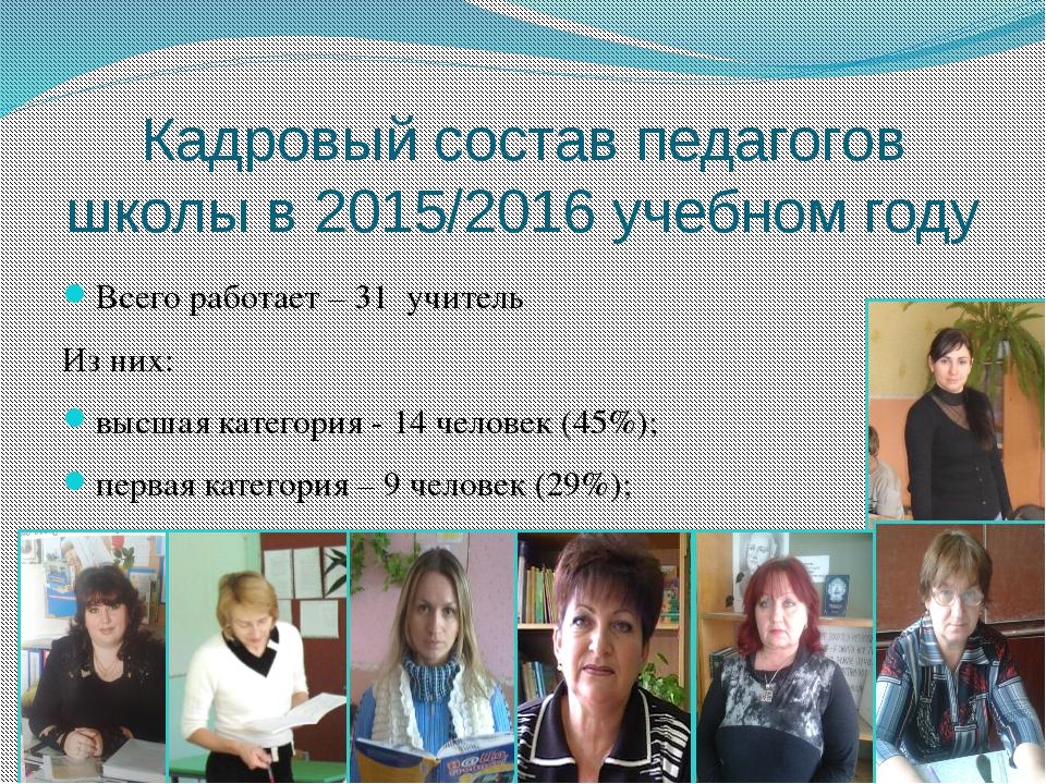 Кадровый состав педагогов школы в 2015/2016 учебном году Всего работает – 31...