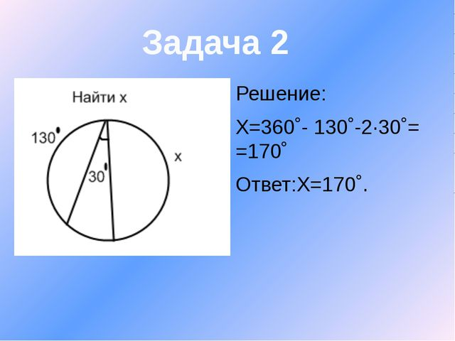 Решение: Х=360˚- 130˚-2∙30˚= =170˚ Ответ:Х=170˚. Задача 2
