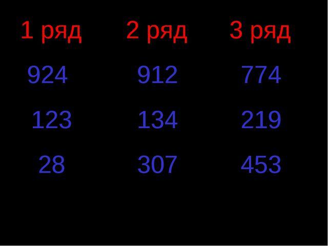 1 ряд 924 123 28 2 ряд 912 134 307 3 ряд 774 219 453