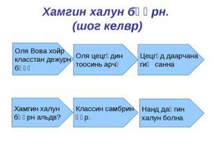Хамгин халун бәәрн. (шог келвр) Оля Вова хойр класстан дежурн бәәҗ Оля цецгүд