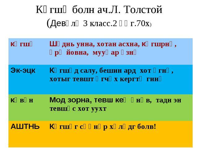 Көгшә болн ач.Л. Толстой (Девәлә 3 класс.2 әӊг.70х) көгшәШүднь унна, хотан а...