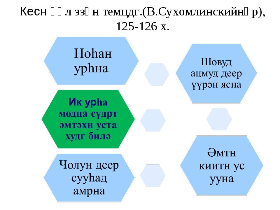 Кесн үүл эзән темцдг.(В.Сухомлинскийнәр), 125-126 х.
