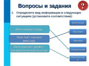 Определите вид информации в следующих ситуациях (установите соответствие): Во