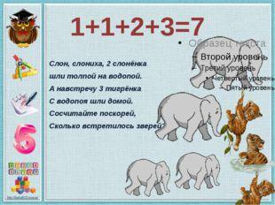 1+1+2+3=7 Слон, слониха, 2 слонёнка шли толпой на водопой. А навстречу 3 тигр